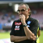 Maurizio Sarri head coach of Napoli gestures during the Serie A TIM soccer match between AS Roma and SSC Napoli at Stadio San Paolo in Naples Italy on October  15, 2016.